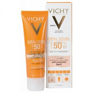IDEAL SOLEIL SPF-50+ CUIDADO ANTIMANCHAS 3 EN 1  COLOR 50 ML