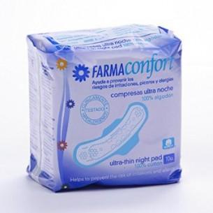 COMPRESAS TOCOLOGICAS FARMACONFORT HIPOALERGENICA NOCHE EPLANA CON ALAS 10 U